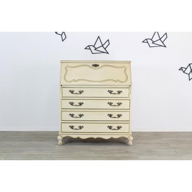 White Traditional Secretary Desk, Cream Secretary Desk For Sale - Image 8 of 12