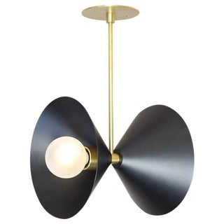 Focal Point Pendant Light in Brass and Black Enamel by Blueprint Lighting, 2019 For Sale
