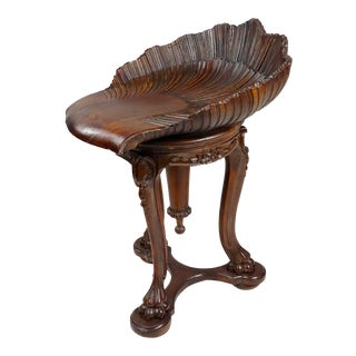 19th Century Venetian Carved Walnut Grotto Piano Stool For Sale