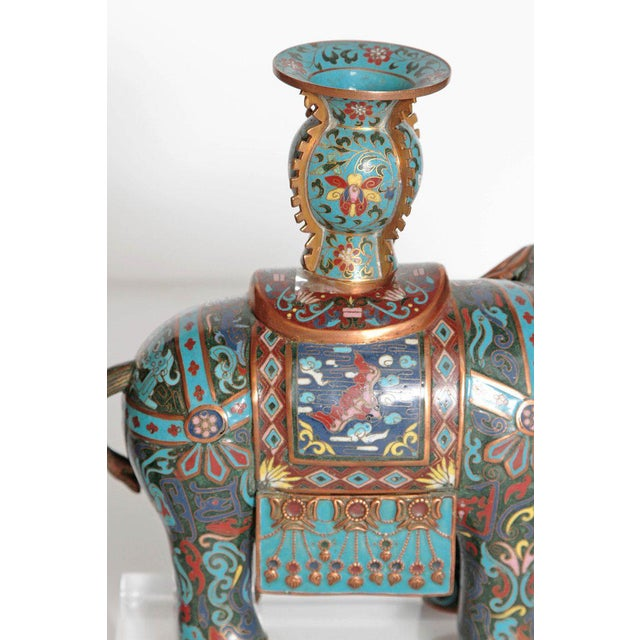 Pair of Chinese Cloisonne Elephants For Sale - Image 10 of 13