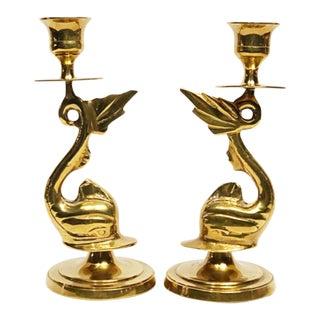 Koi Brass Candlesticks - a Pair For Sale