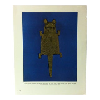 """Circa 1960 """"A Puma Hide of Hammered Gold - Mochica Style"""" Treasures of Ancient America Mounted Print For Sale"""