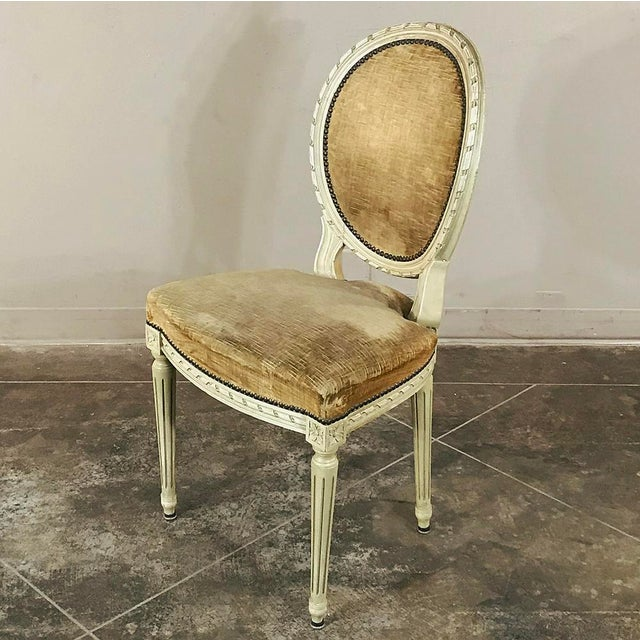 Gold Set of 6 Antique French Painted Louis XVI Chairs For Sale - Image 8 of 13
