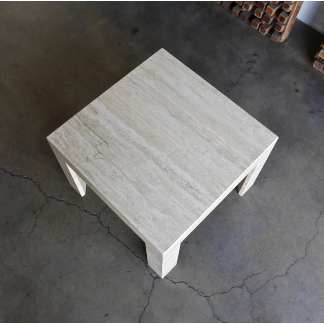 Vintage Travertine Side Table Circa 1980 For Sale - Image 10 of 13