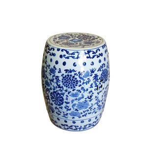 Chinese Blue & White Porcelain Round Flower Theme Stool For Sale