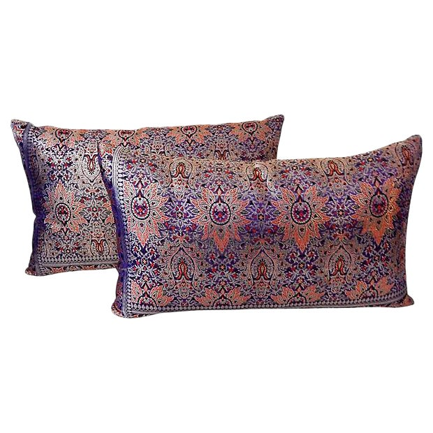 Lumbar Thai Silk Pillows, S/2 - Image 1 of 5