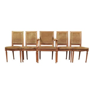 Set of Five French Louis XVI Square Back Vintage Dining Chairs 4 Side Chairs and 1 Armchair For Sale