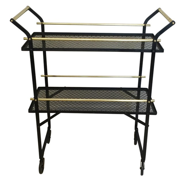 Smart French Black Metal and Brass Bar Cart - Image 1 of 4