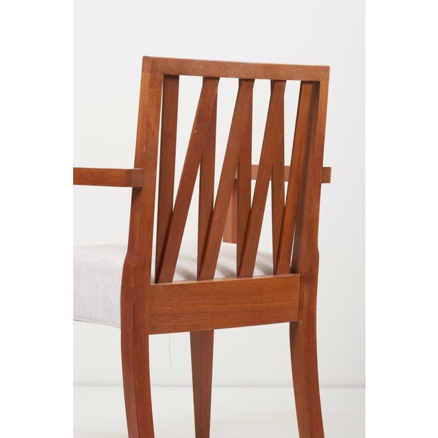 Brown Newly Restored Set of 8 Lattice Back Dining Chairs Attributed to Paul T. Frankl For Sale - Image 8 of 13