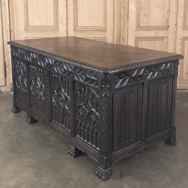 Brass Antique French Gothic Parquet Top Desk For Sale - Image 7 of 13