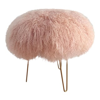 Blush Mongolian Lambs Wool Stool
