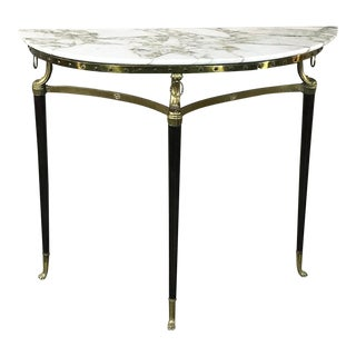 Mid-Century Inlaid Marble & Brass Demilune Console For Sale