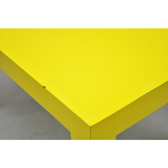 Plastic 1970s Contemporary Thayer Coggin Milo Baughman Yellow Parsons End Table For Sale - Image 7 of 11