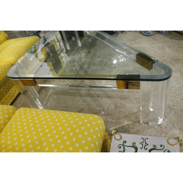 Charles Hollis Jones Lucite and Brass Triangle Coffee Table For Sale - Image 5 of 12