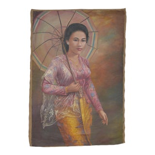 1940s Young Elegant Asian Woman Oil Painting on Canvas For Sale