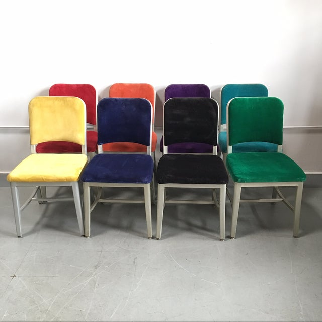 Emeco Vintage Velvet Dining Chairs - Set of 8 - Image 2 of 11