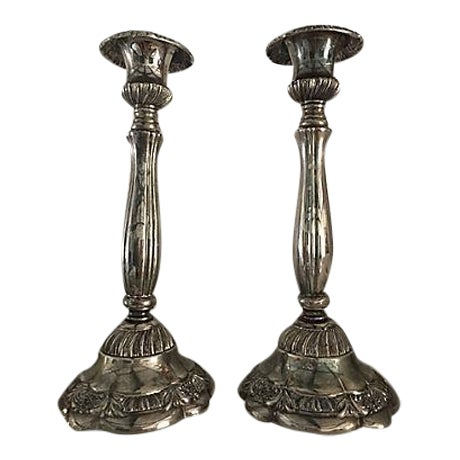 English Silver-Plate Candleholder - A Pair For Sale