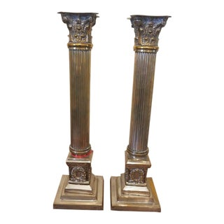 Pair of Roman Column Brass & Silver Candlesticks For Sale