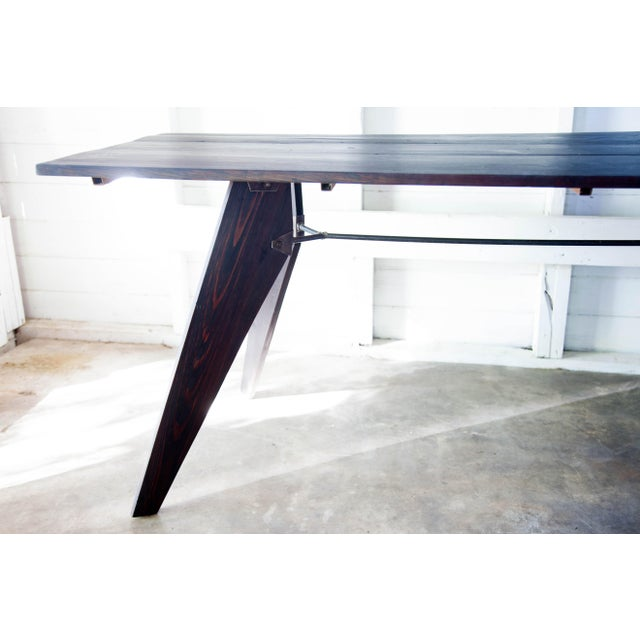 """Industrial Mid-Century Handmade Black Dining Utility Table 71"""" For Sale - Image 3 of 12"""