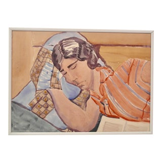 Watercolor of a Sleeping Woman, 1920s