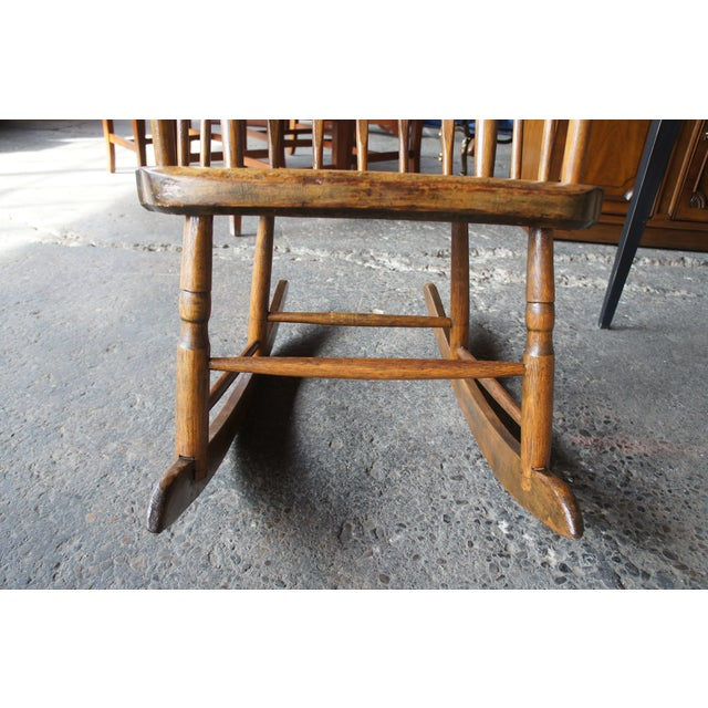 19th Century Antique Chestnut Windsor Comb Back Rocking Chair For Sale - Image 11 of 13
