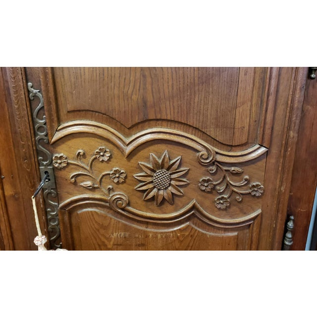 Antique 18th Century French Normandy Country Double Door Wedding Armoire Cabinet C1790 For Sale - Image 4 of 13
