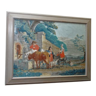 "Large Early 19th C. Gouache Painting, ""By the Water Trough"" For Sale"