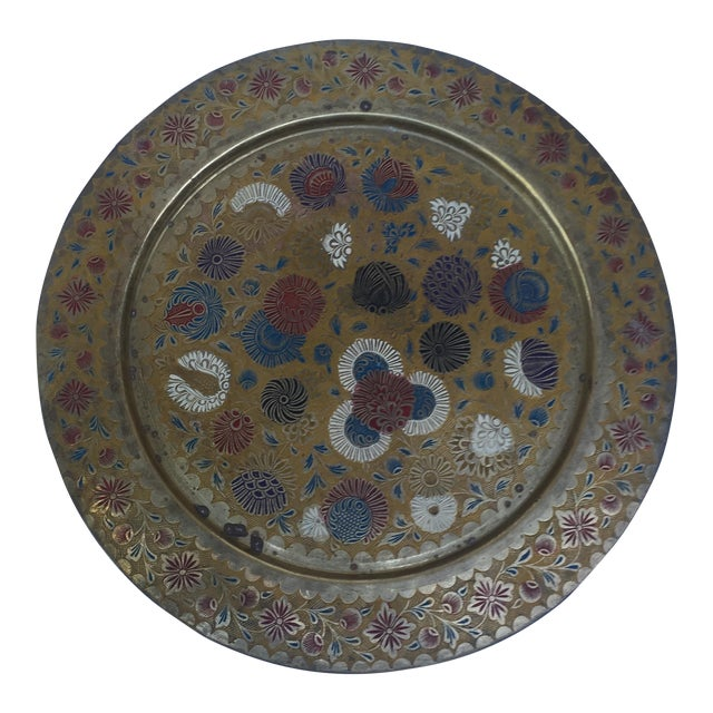 Boho Chic Vintage Indian Gold Plate For Sale - Image 3 of 10