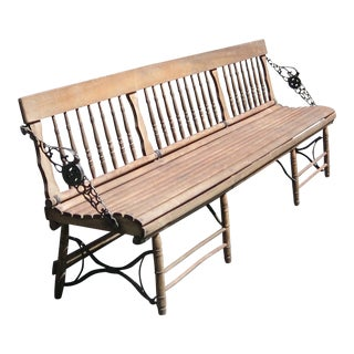 1890s Antique Train Station Bench For Sale