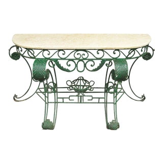 "65"" W Ornate Italian Regency Style Green Wrought Iron Marble Top Console Table"