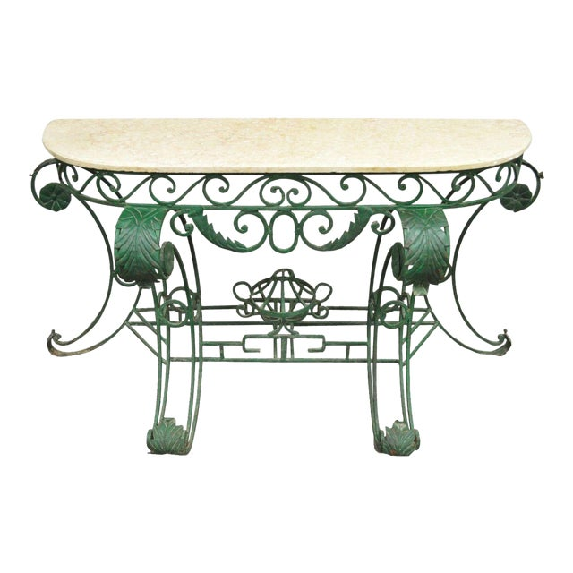 "65"" W Ornate Italian Regency Style Green Wrought Iron Marble Top Console Table - Image 1 of 11"