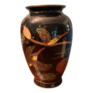 Chinese Black and Gold Vase With Birds For Sale
