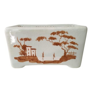 White Porcelain Hand Painted Portuguese Flower Brick For Sale