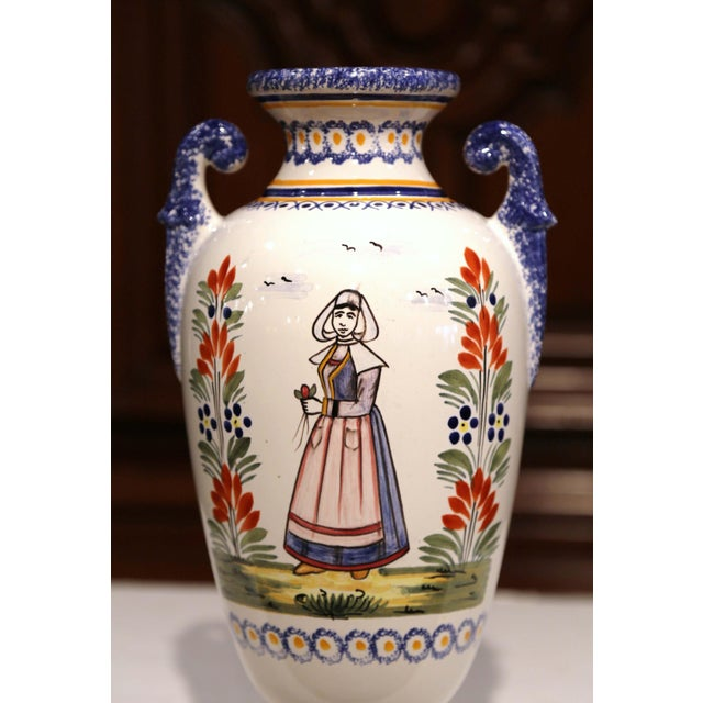 French Tall Early 20th Century French Hand-Painted Faience Vase Signed Henriot Quimper For Sale - Image 3 of 9