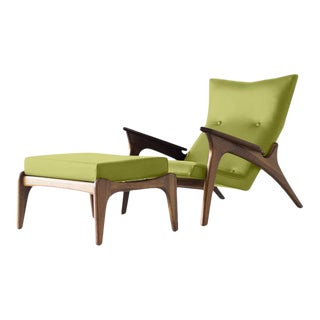 Modern Medellin Mid-Century Style Lounge Chair and Ottoman - 2 Pieces For Sale
