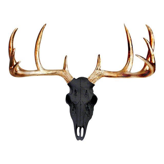 Black & Metallic Gold Faux Antlers Mini Deer Skull by Wall Charmers For Sale