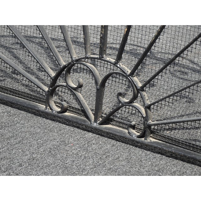 Vintage Spanish Style Black Metal Fireplace Screen W Scrolls For Sale - Image 10 of 13