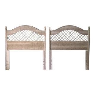 1990s Shabby Chic Wicker Headboards - a Pair For Sale