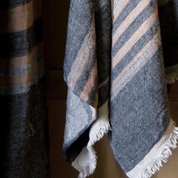 Belgian Black Stripe Towel For Sale In Chicago - Image 6 of 10