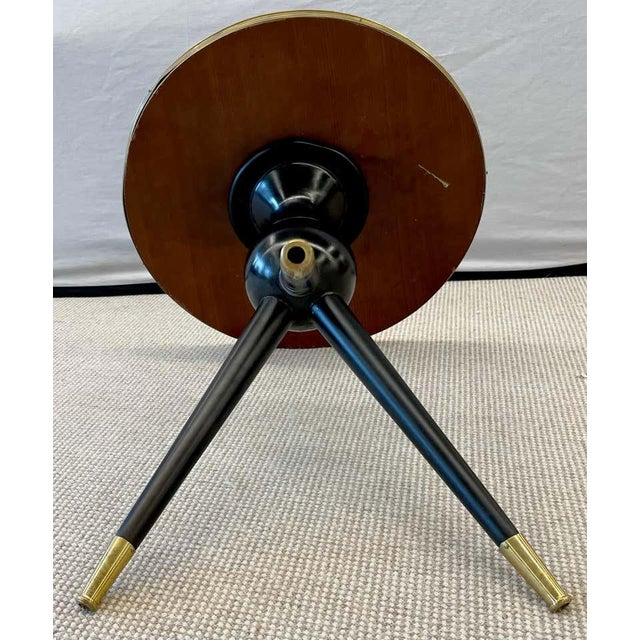 Mid-Century Modern Style End / Lamp Table Ebony Bronze Base and Rosewood For Sale - Image 12 of 13