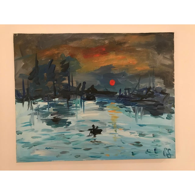 Modern copy of Claude Monet's Impression: Soleil Levant, 1872. Probably an interpretation by an art student. Initialed...