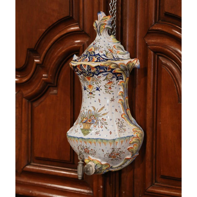 French Early 20th Century, French Hand-Painted Wall Faience Lavabo Fountain From Rouen For Sale - Image 3 of 9
