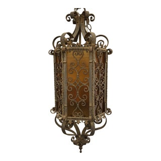 Old Spanish Revival Staircase Pendant Light For Sale