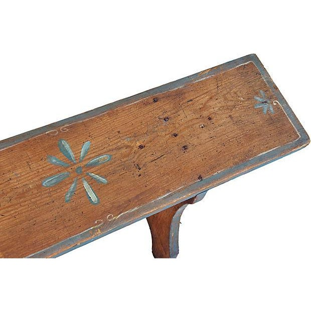 1930s Hand-Painted Farmhouse Country Bench For Sale - Image 11 of 13