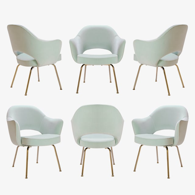Saarinen Executive Arm Chairs in Mint Velvet, 24k Gold Edition - Set of 6 - Image 2 of 10