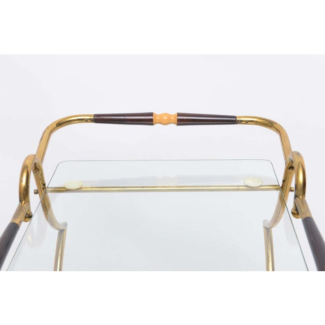 1950s Italian Brass and Glass Trolley Server For Sale In Miami - Image 6 of 10