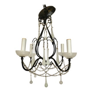 Petite Iron Chandelier With Murano White Opaline Glass Drops For Sale
