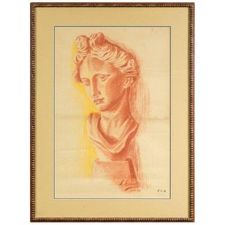 1950s Vintage L. Ernotte European Female Statue Chalk Drawing For Sale