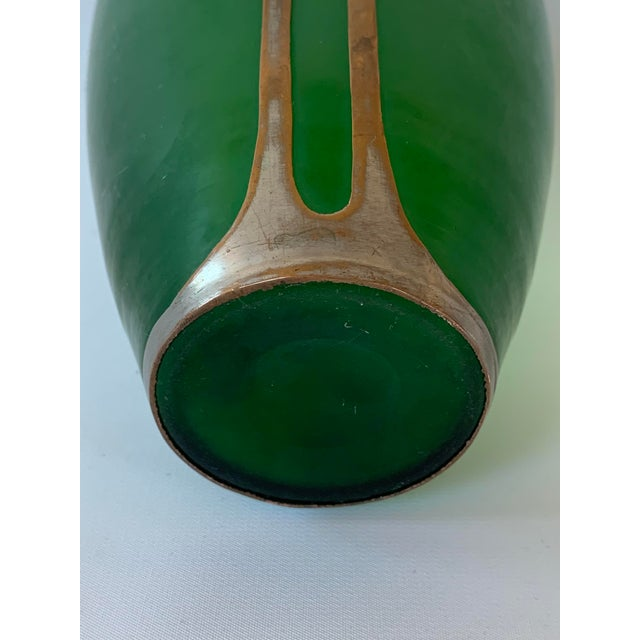 Metal Antique Art Nouveau Emerald Green Vase With Silver Overlay and Jewel For Sale - Image 7 of 8