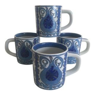 1969 Nils Thorsson Royal Copenhagen Fajance Porcelain Mugs- Set of 4 For Sale